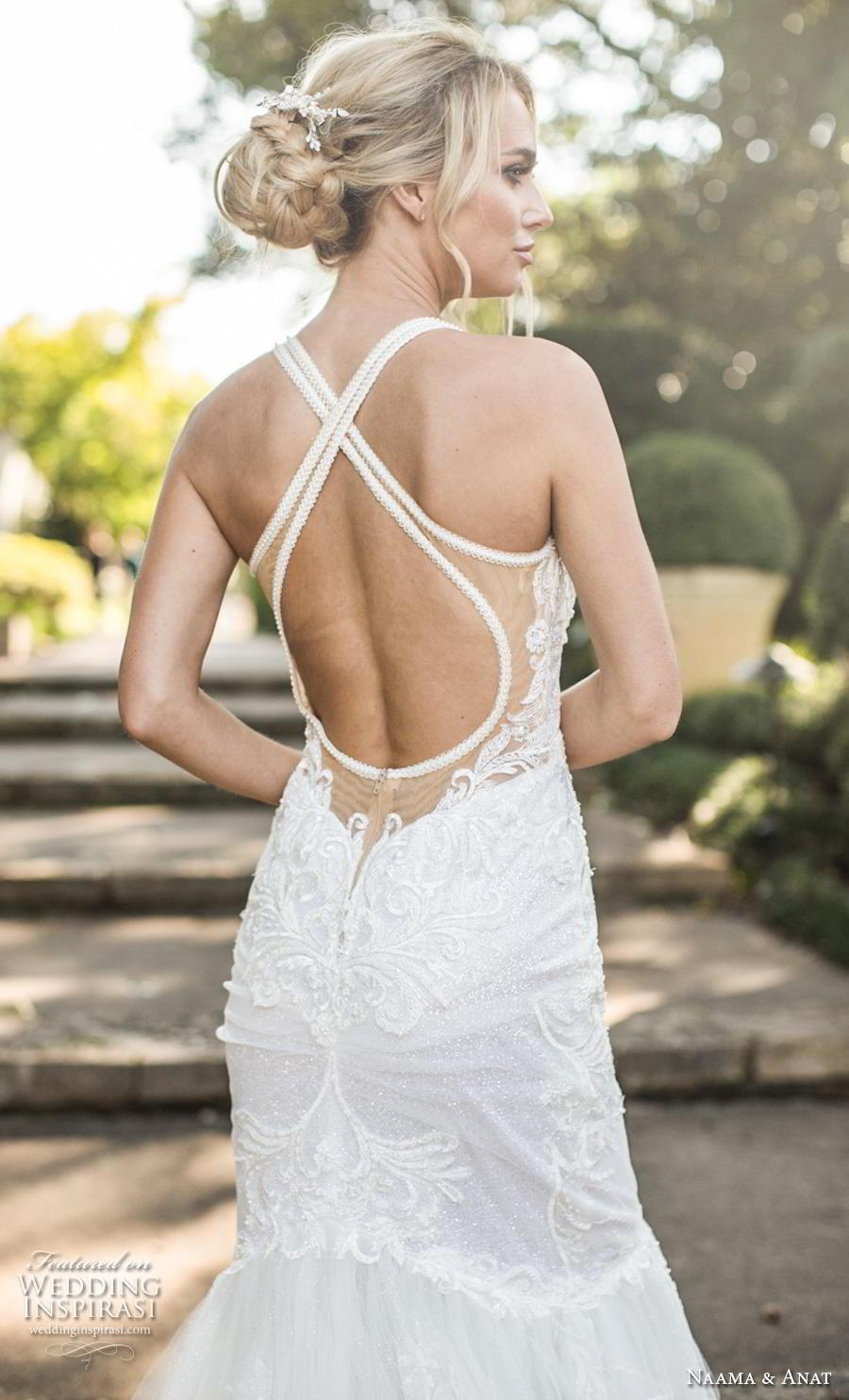 naama anat fall 2019 couture bridal sleeveless halter strap sweetheart neckline full embellishment elegant mermaid wedding dress cross strap back chapel train (5) zbv