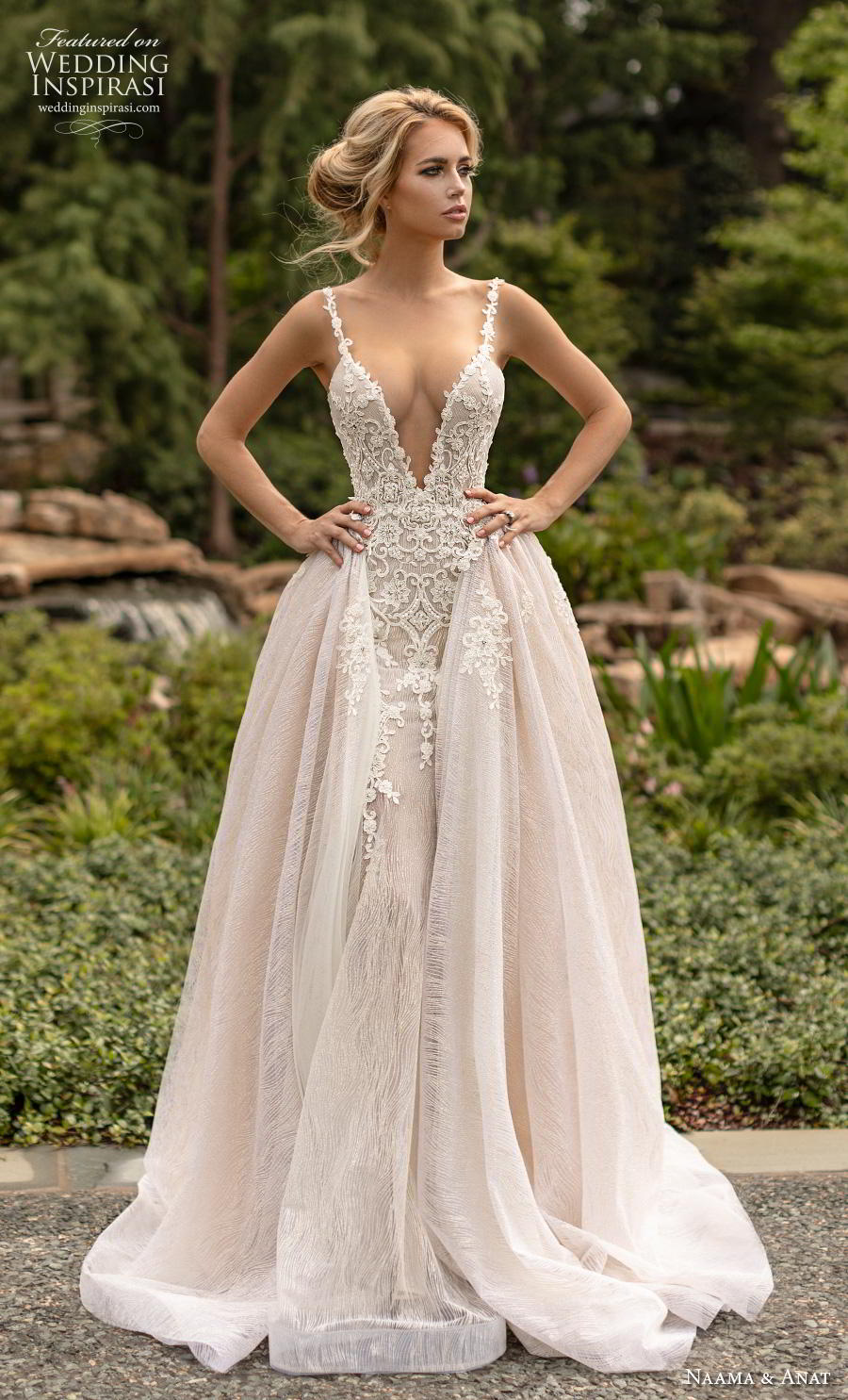 naama anat fall 2019 couture bridal sleeveless thin strap deep v neck heavily embellished bodice elegant fit and flare wedding dress a  line overskirt open low back backless chapel train (2) fv