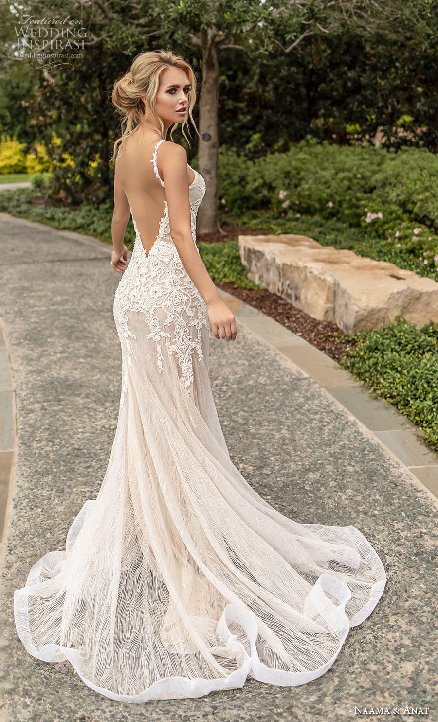 naama anat fall 2019 couture bridal sleeveless thin strap deep v neck heavily embellished bodice elegant fit and flare wedding dress open low back backless chapel train (2) bv