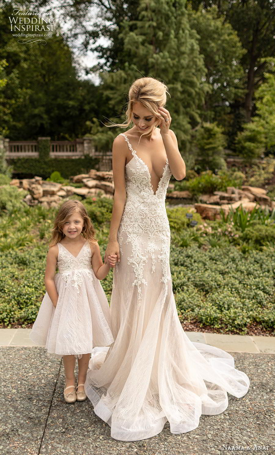 naama anat fall 2019 couture bridal sleeveless thin strap deep v neck heavily embellished bodice elegant fit and flare wedding dress open low back backless chapel train (2) fv