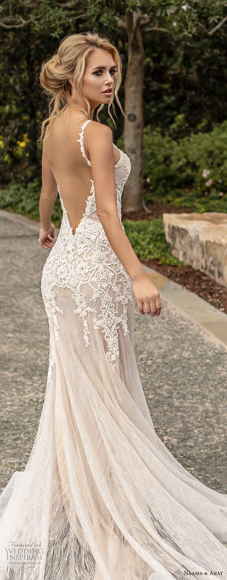 naama anat fall 2019 couture bridal sleeveless thin strap deep v neck heavily embellished bodice elegant fit and flare wedding dress open low back backless chapel train (2) lbv