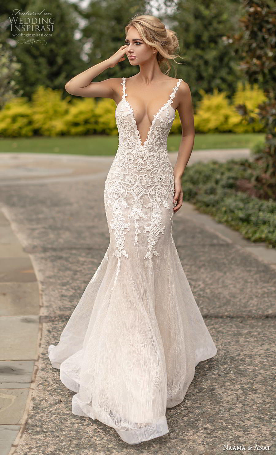 naama anat fall 2019 couture bridal sleeveless thin strap deep v neck heavily embellished bodice elegant fit and flare wedding dress open low back backless chapel train (2) mv