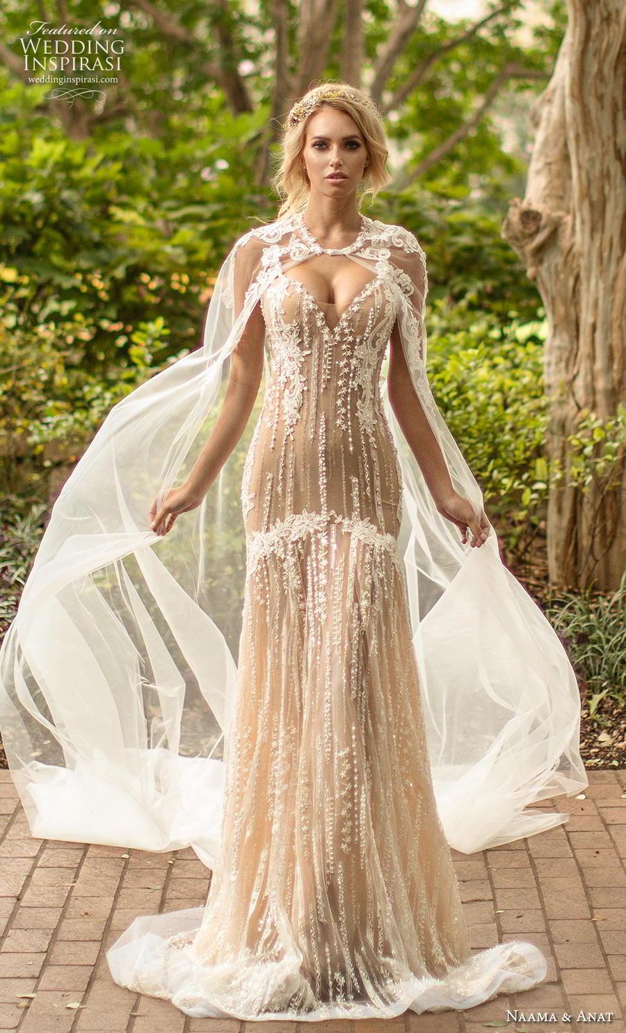 naama anat fall 2019 couture bridal sleeveless thin strap sweetheart neckline full embellishment elegant ivory drop waist a  line wedding dress sheer lace back medium train (4) mv