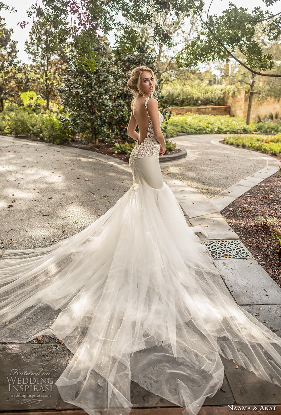 naama anat fall 2019 couture bridal sleeveless with strap sweetheart neckline heavily embellished bodice elegant mermaid wedding dress low open back backless royal train (3) bv