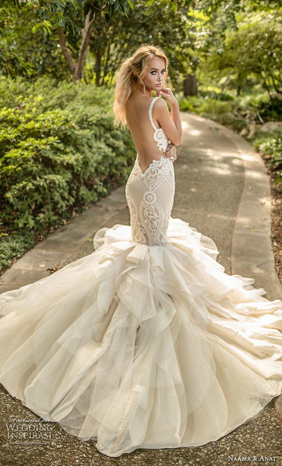 naama anat fall 2019 couture bridal sleeveless with strap sweetheart neckline heavily embellished bodice ruffled skirt romantic mermaid wedding dress backless low open back chapel train (7) bv