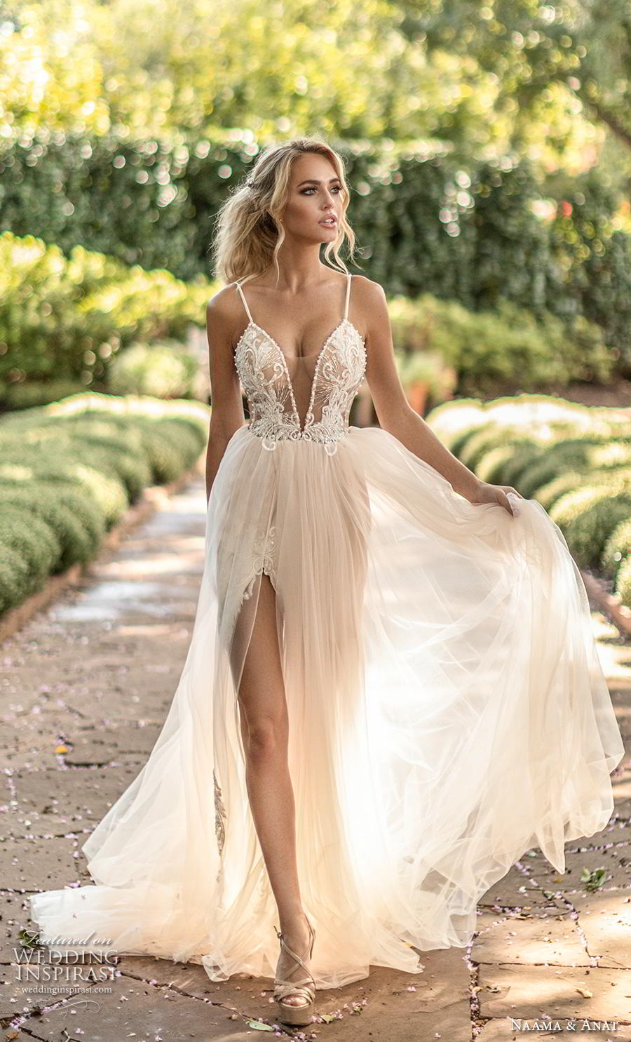 naama anat fall 2019 couture bridal spaghetti strap deep plunging sweetheart neckline heavily embellished bodice slit skirt romantic soft a line wedding dress backless v back chapel train (8) mv