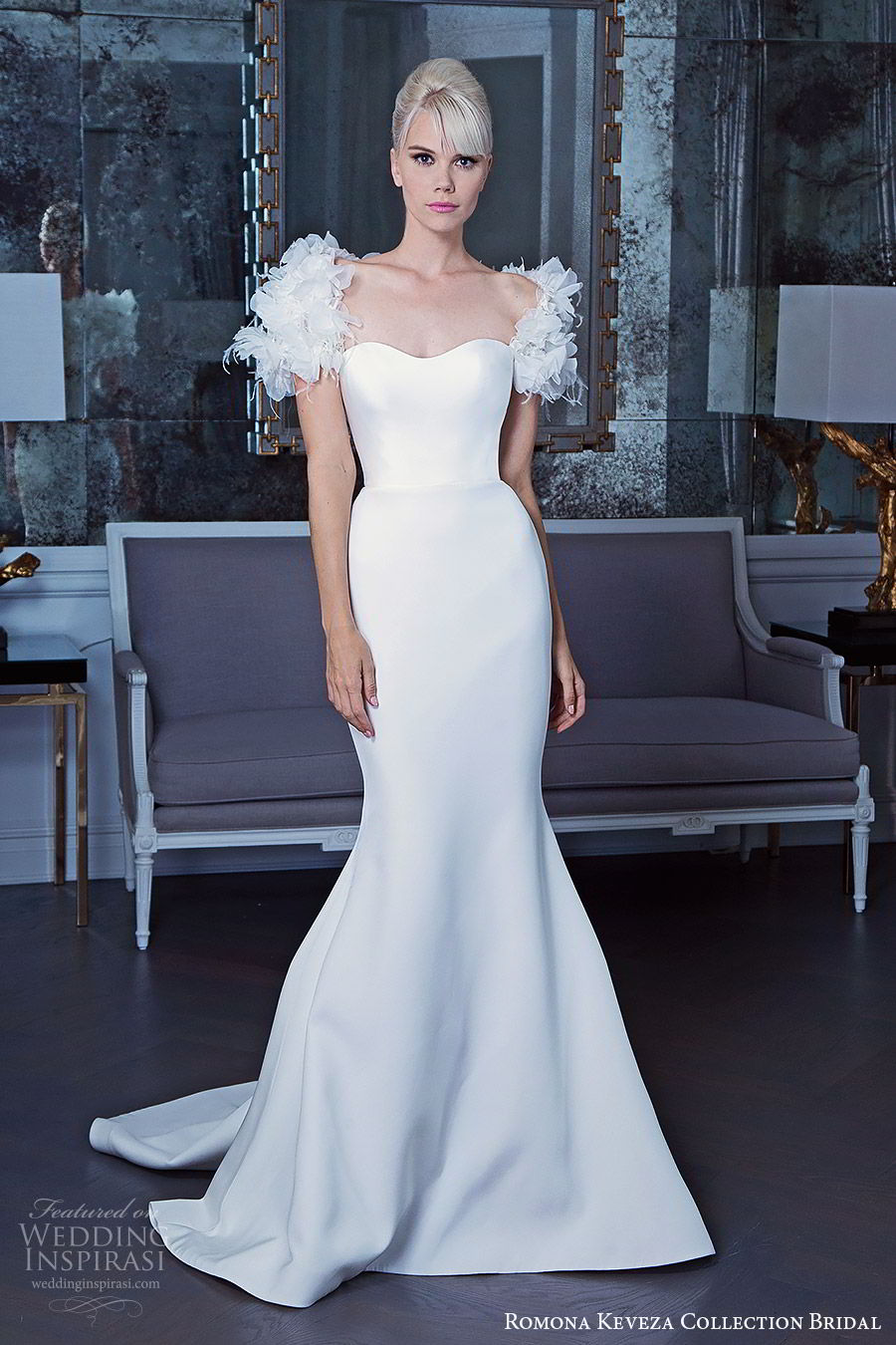 romona keveza fall 2019 bridal embellished cap sleeves semi sweetheart neckline mermaid wedding dress clean elegant modern chapel train (7) mv