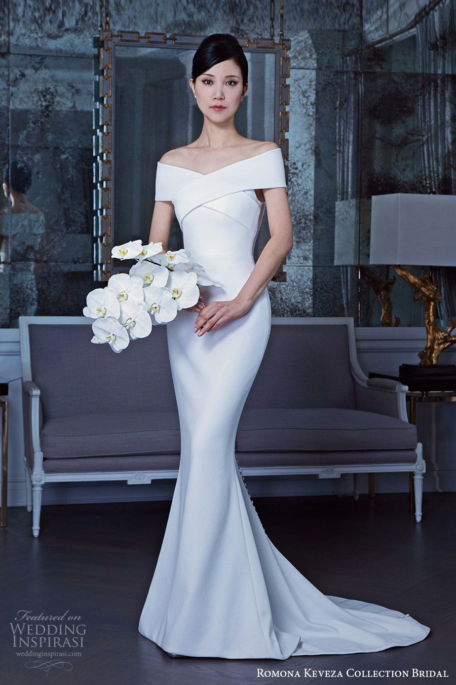 romona keveza fall 2019 bridal off shoulder short sleeves crossover bodice sheath mermaid wedding dress sweep train clean minimal modern (4) mv