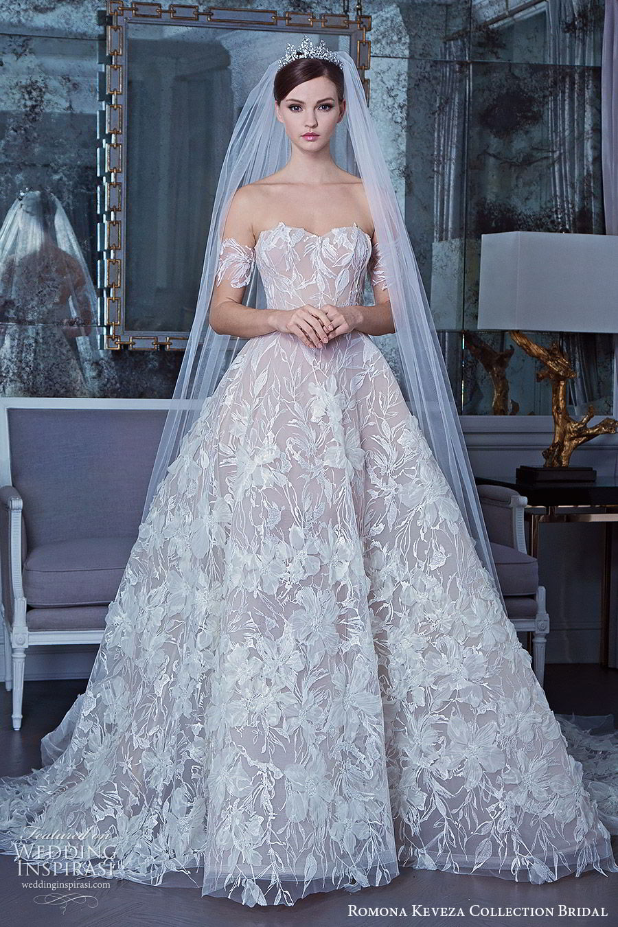 romona keveza fall 2019 bridal off shoulder sweertheart fully embellished ball gown wedding dress (10) romantic princess elegant chapel train mv