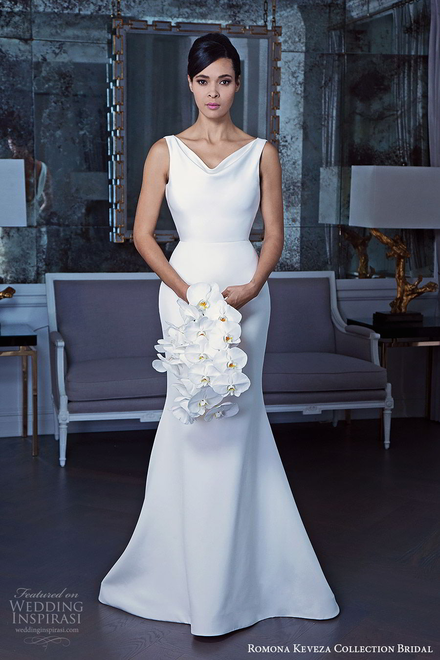 romona keveza fall 2019 bridal sleeveless cowl neckline sheath trumpet mermaid minimalist wedding dress minimal embellishments clean elegant modern (3) mv