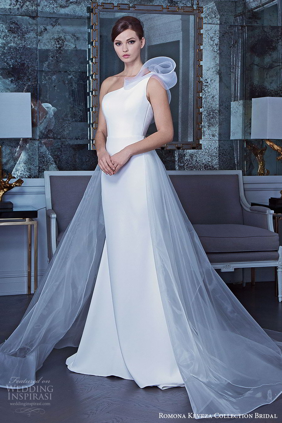 romona keveza fall 2019 bridal sleeveless one shoulder sheath wedding dress a line sheer overskirt chapel train minimalist clean chic elegant (5) mv