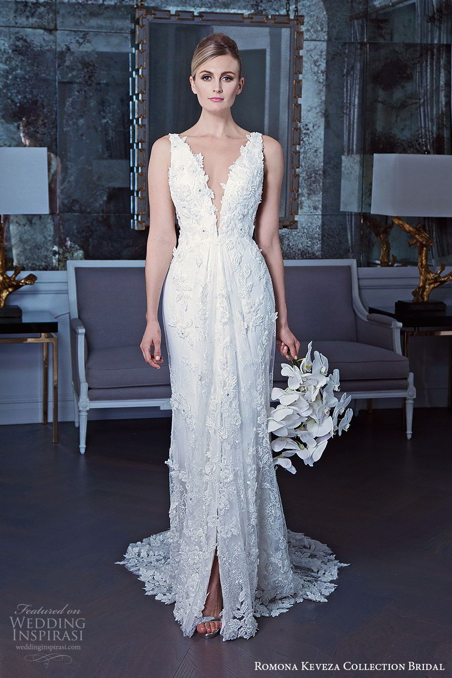 romona keveza fall 2019 bridal sleeveless thick straps plunging v neckline heavily embellished lace sheath wedding dress chapel train elegant romantic (1) mv