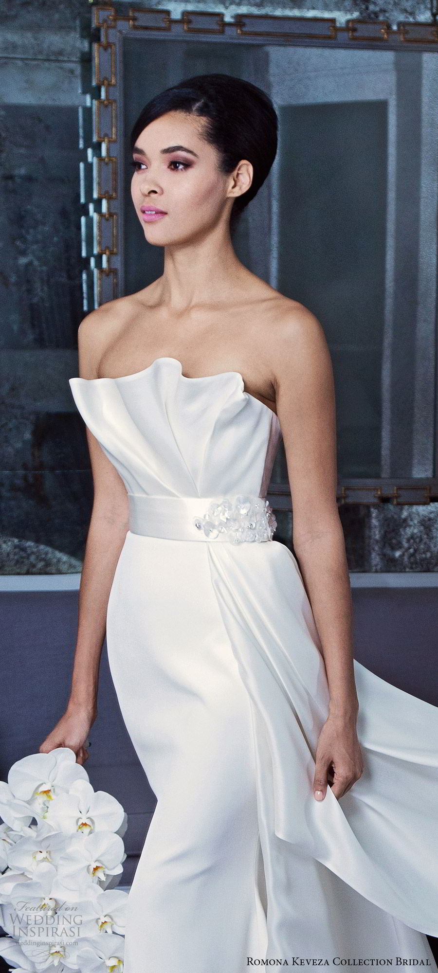romona keveza fall 2019 bridal strapless crumbcatcher neckline pleated bodice sheath wedding dress chapel train elegant minimalist clean modern (8) zv