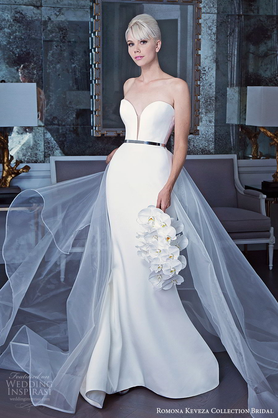 romona keveza fall 2019 bridal strapless sweetheart neckline trumpet sheath wedding dress sheer overskirt  belt minimalist clean modern (2) mv