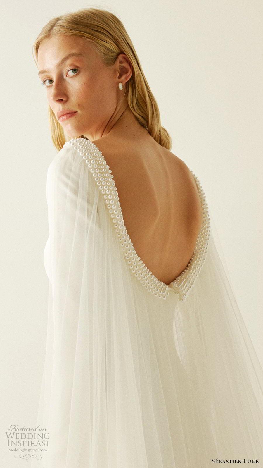 sebastien luke fall 2019 bridal jewel neckline long sleeves minimal embellishment modified a line wedding dress pockets cape clean simple modern (4) zbv