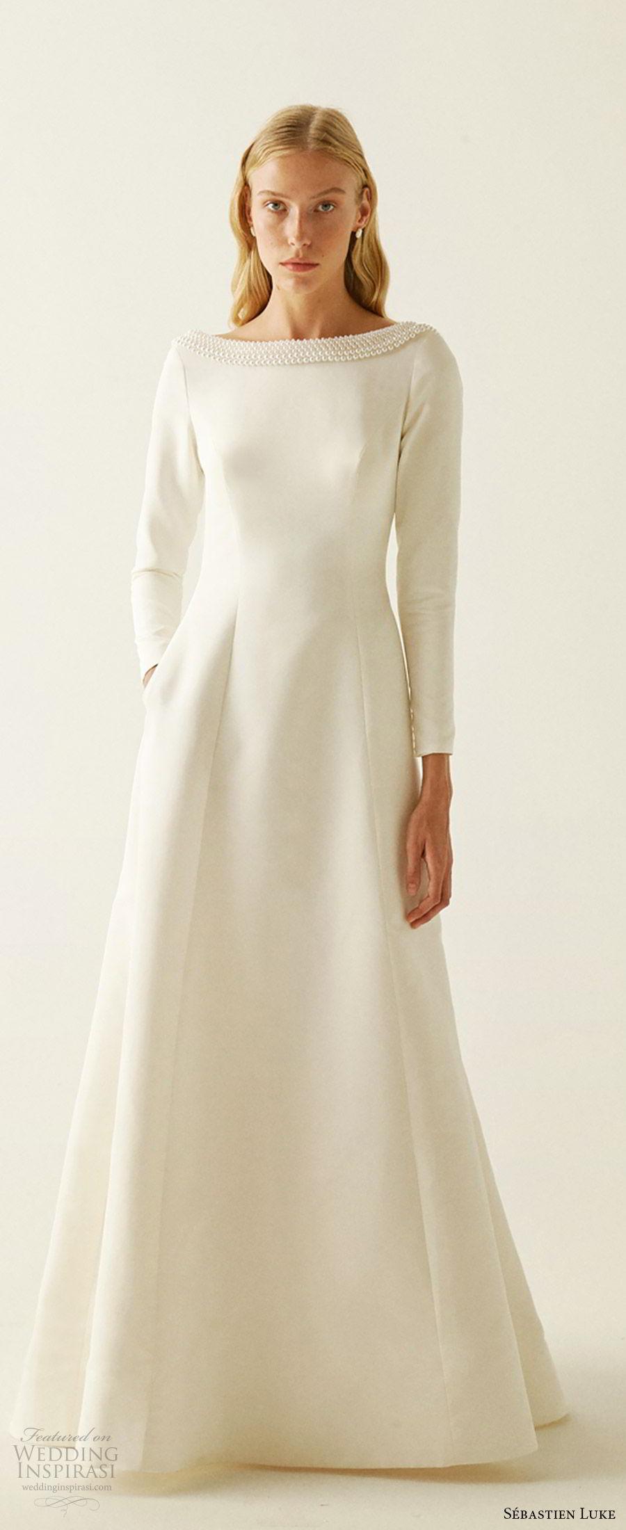 sebastien luke fall 2019 bridal jewel neckline long sleeves minimal embellishment modified a line wedding dress pockets clean simple modern (4) mv