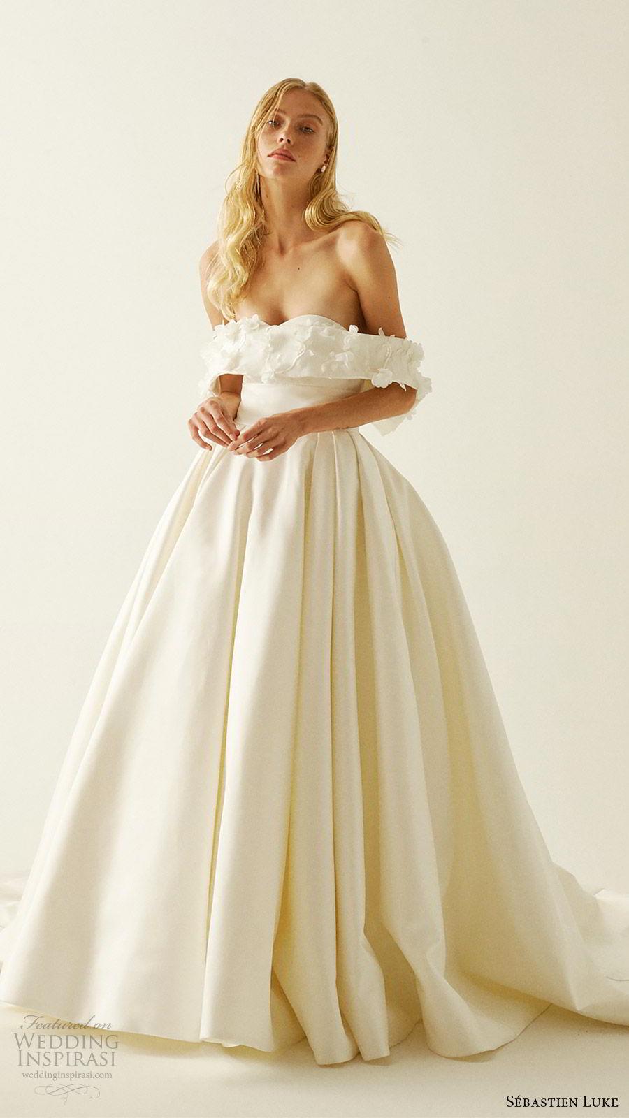 sebastien luke fall 2019 bridal off shoulder embellished straps sweetheart neckline ball gown wedding dress chapel train romantic modern simple (1) mv