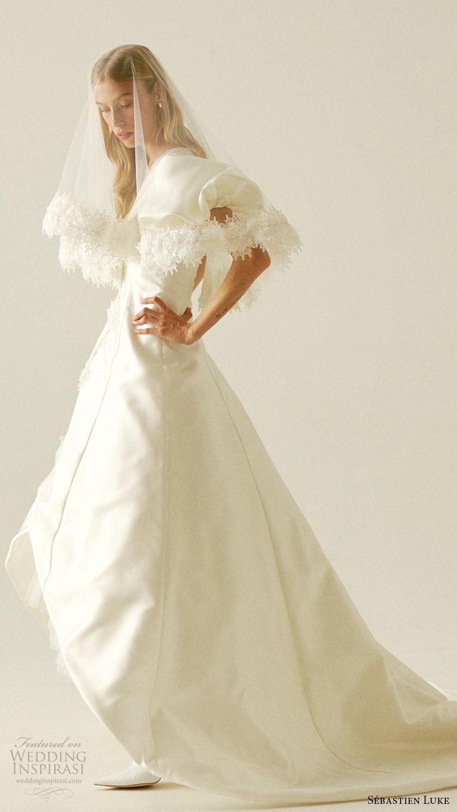 sebastien luke fall 2019 bridal short puff sleeves v neckline high low skirt a line wedding dress coat chapel trainmodern romantic veil (7) sv