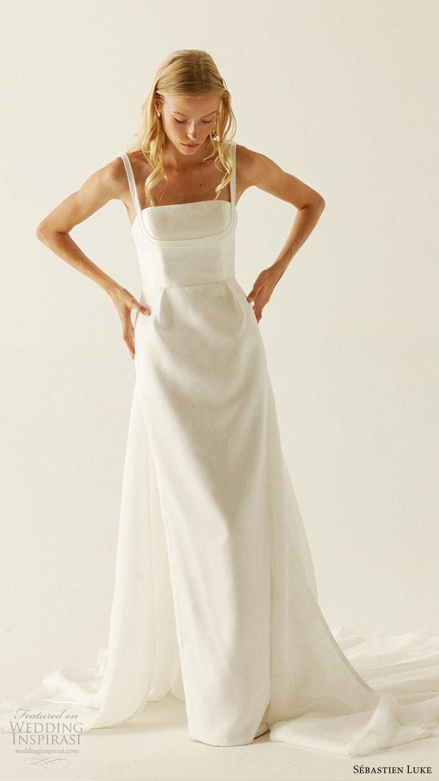 sebastien luke fall 2019 bridal sleeeless beaded straps straight across neckline column wedding dress chapel train minimal clean modern (10) mv