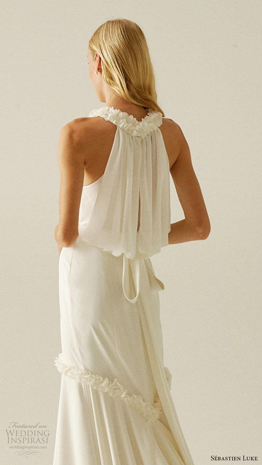 sebastien luke fall 2019 bridal sleeveless halter neck minimally embellished mermaid wedding dress clean simple modern chapel train (8) bv