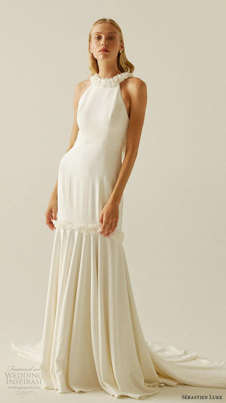 sebastien luke fall 2019 bridal sleeveless halter neck minimally embellished mermaid wedding dress clean simple modern chapel train (8) mv