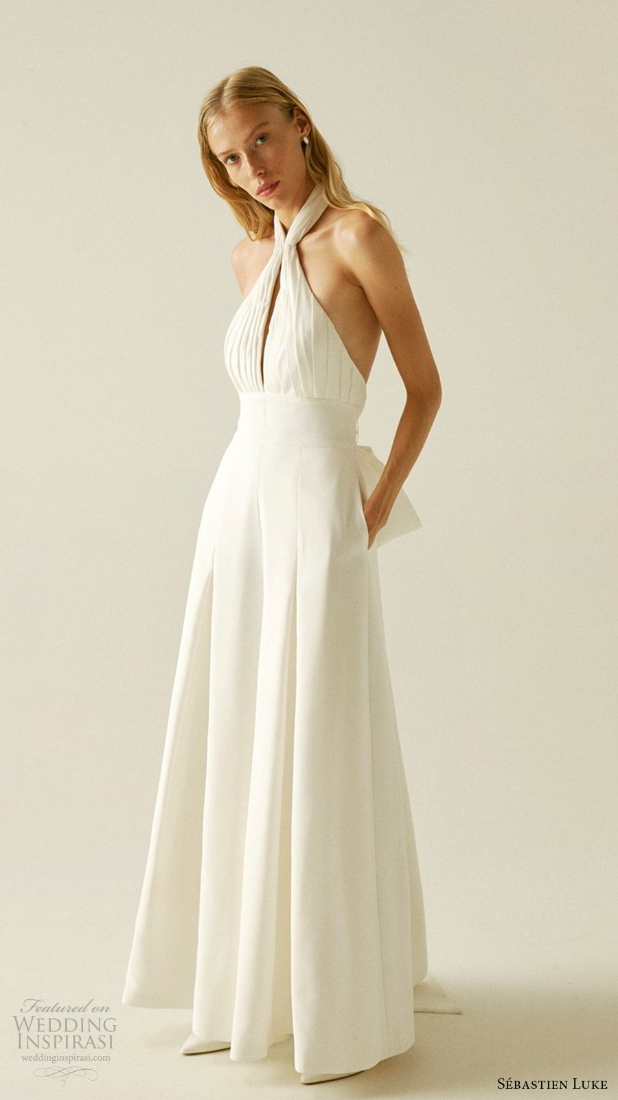 sebastien luke fall 2019 bridal sleeveless halter neckline keyhole ruched bodice pant suit wedding dress pockets (6)  mv
