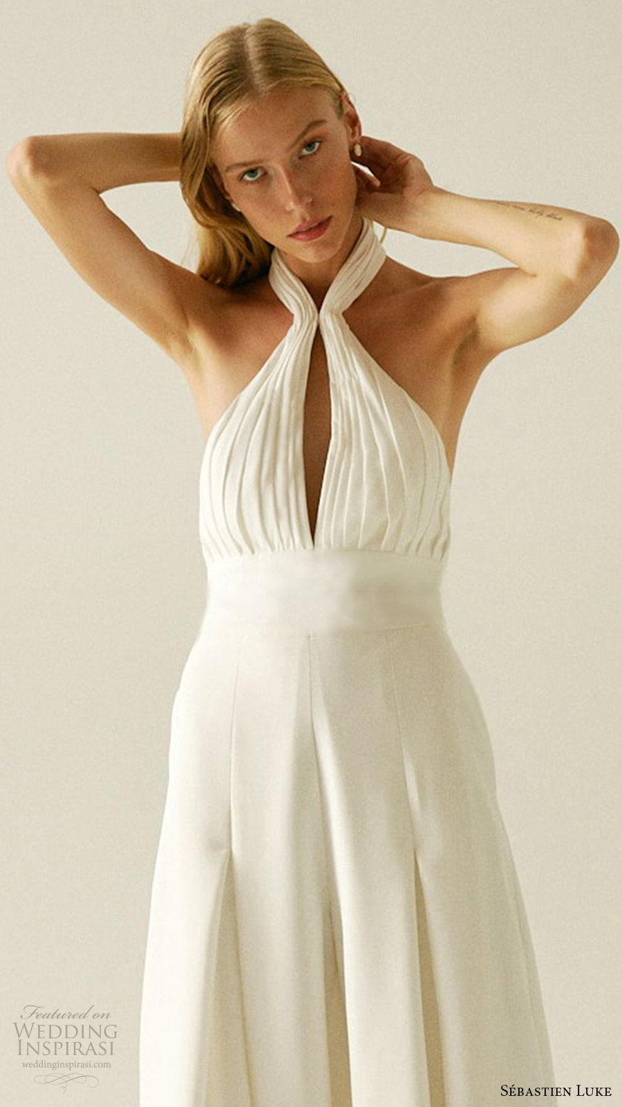 sebastien luke fall 2019 bridal sleeveless halter neckline keyhole ruched bodice pant suit wedding dress pockets (6) zv