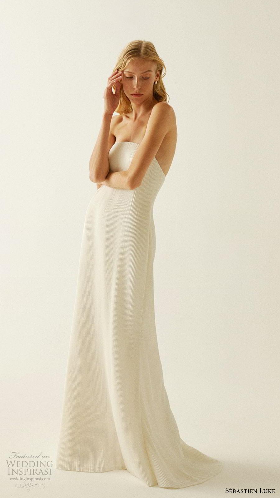 sebastien luke fall 2019 bridal strapless straight across pleated sheath simple wedding dress sweep train modern minimal chic (5) mv