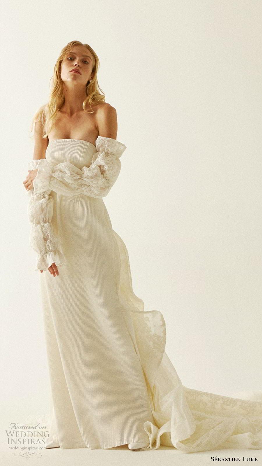 sebastien luke fall 2019 bridal strapless straight across pleated sheath wedding dress detached sleeves chapel train modern chic (5) mv