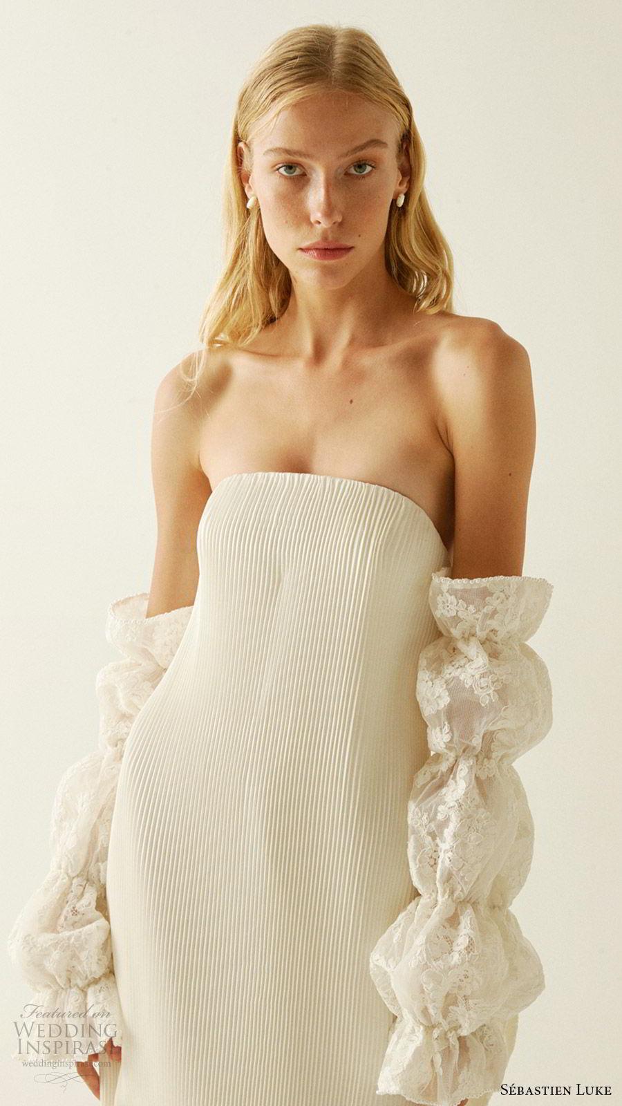 sebastien luke fall 2019 bridal strapless straight across pleated sheath wedding dress detached sleeves modern chic (5) zv