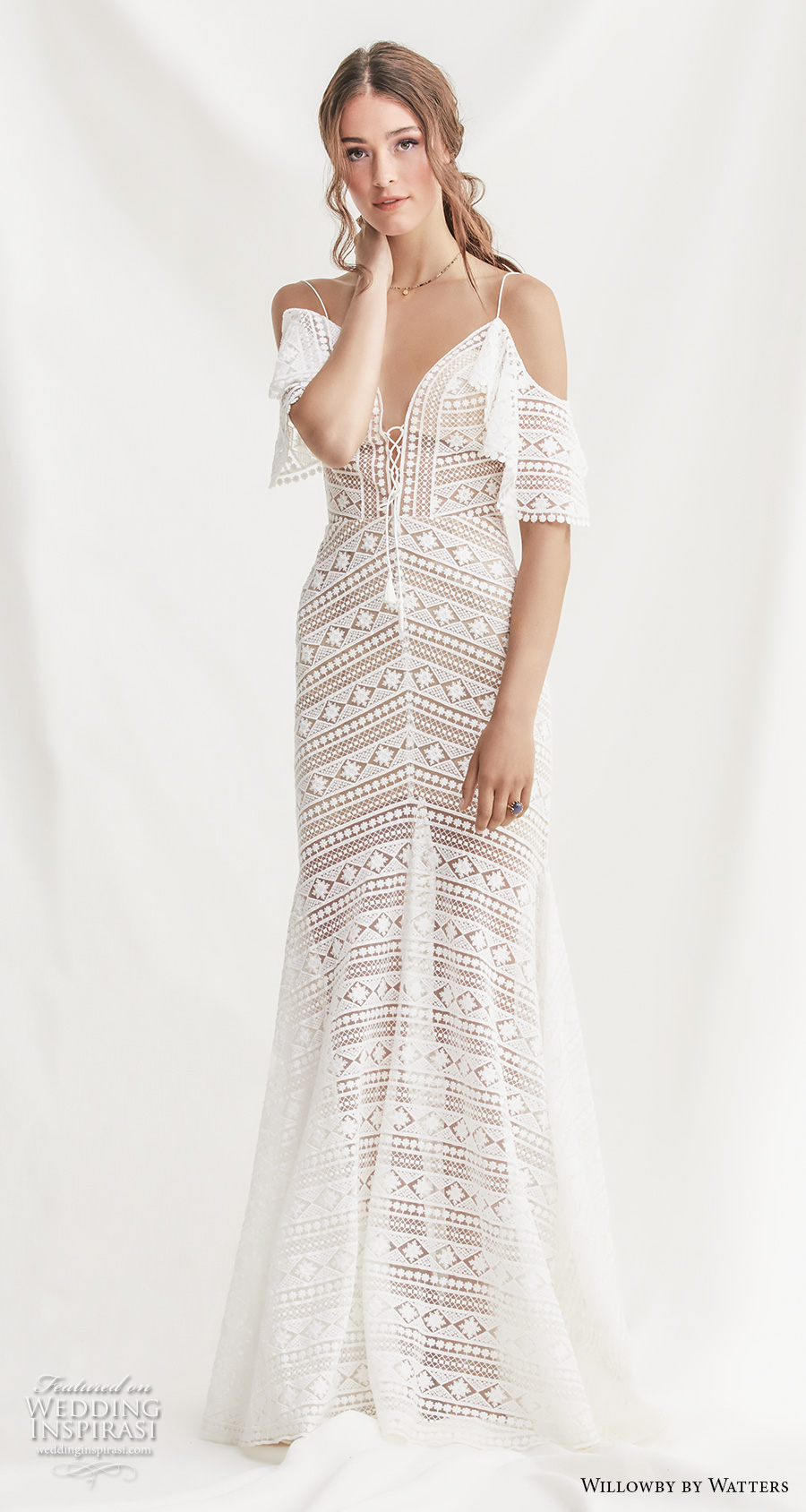willowby by watters spring 2019 bridal cold shoulder half sleeves deep sweetheart neckline full embellishment romantic bohemian fit and flare wedding dress backless sweep train (13) mv