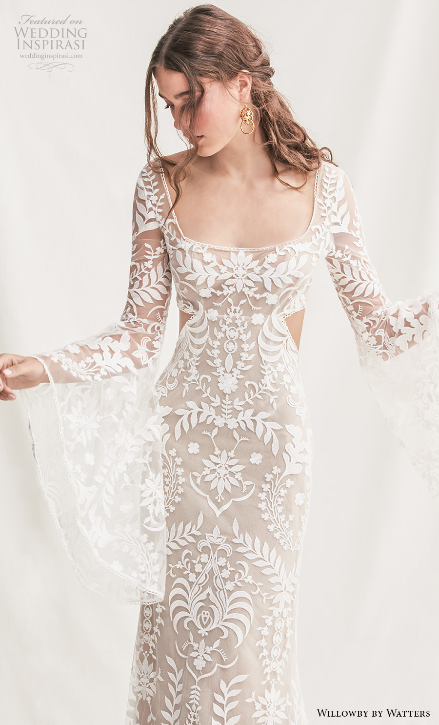 willowby by watters spring 2019 bridal long bell sleeves square neckline full embellishment bohemian elegant sheath wedding dress keyhole back sweep train (6) zv
