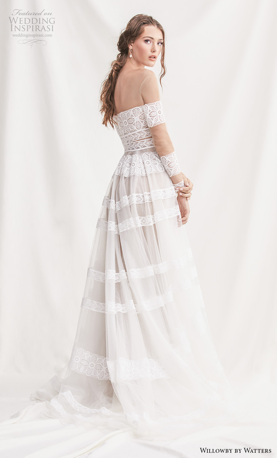 willowby by watters spring 2019 bridal long sleeves off the shoulder straight across neckline full embellishment bohemian romantic a  line wedding dress chapel train (11) bv