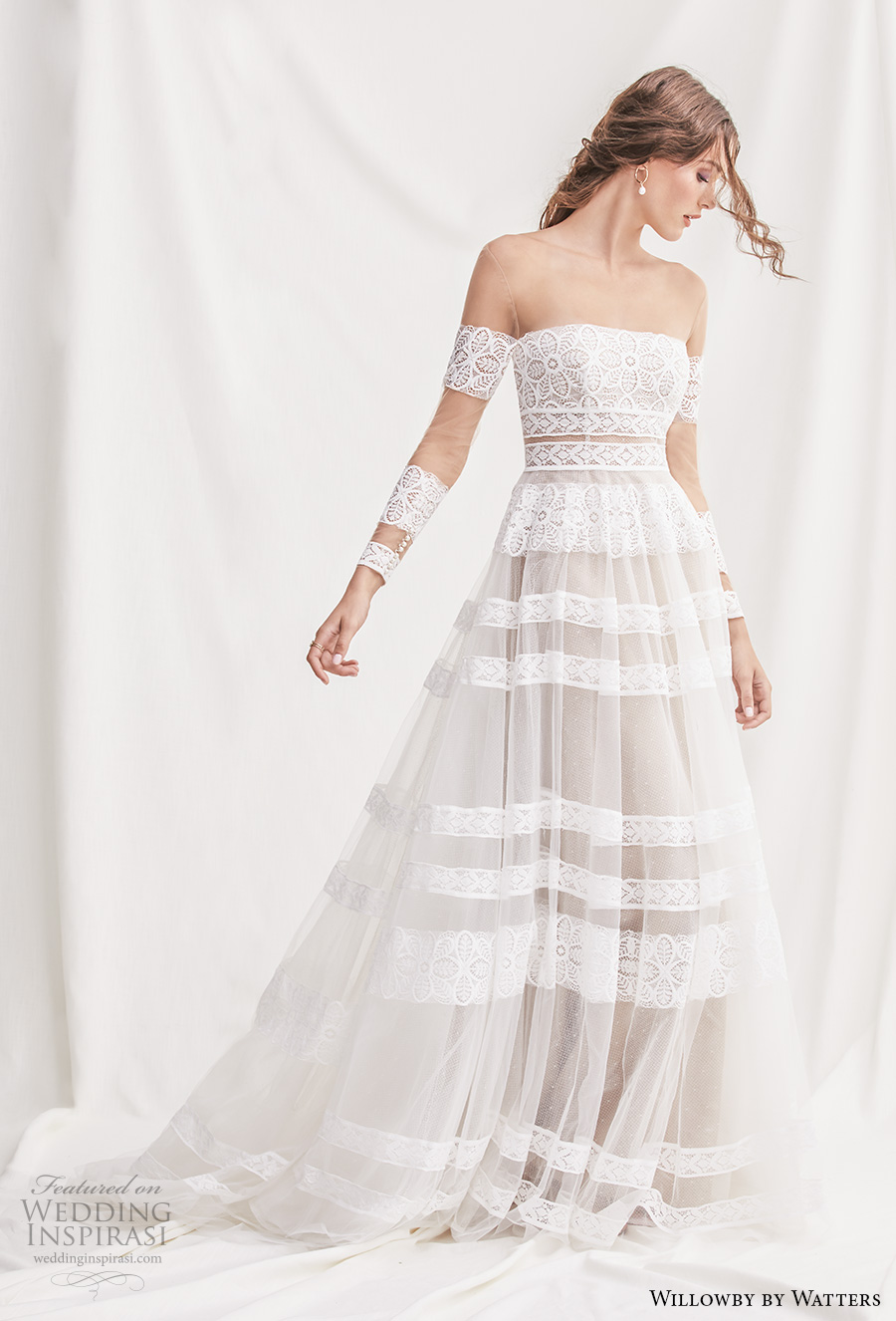 willowby by watters spring 2019 bridal long sleeves off the shoulder straight across neckline full embellishment bohemian romantic a  line wedding dress chapel train (11) mv