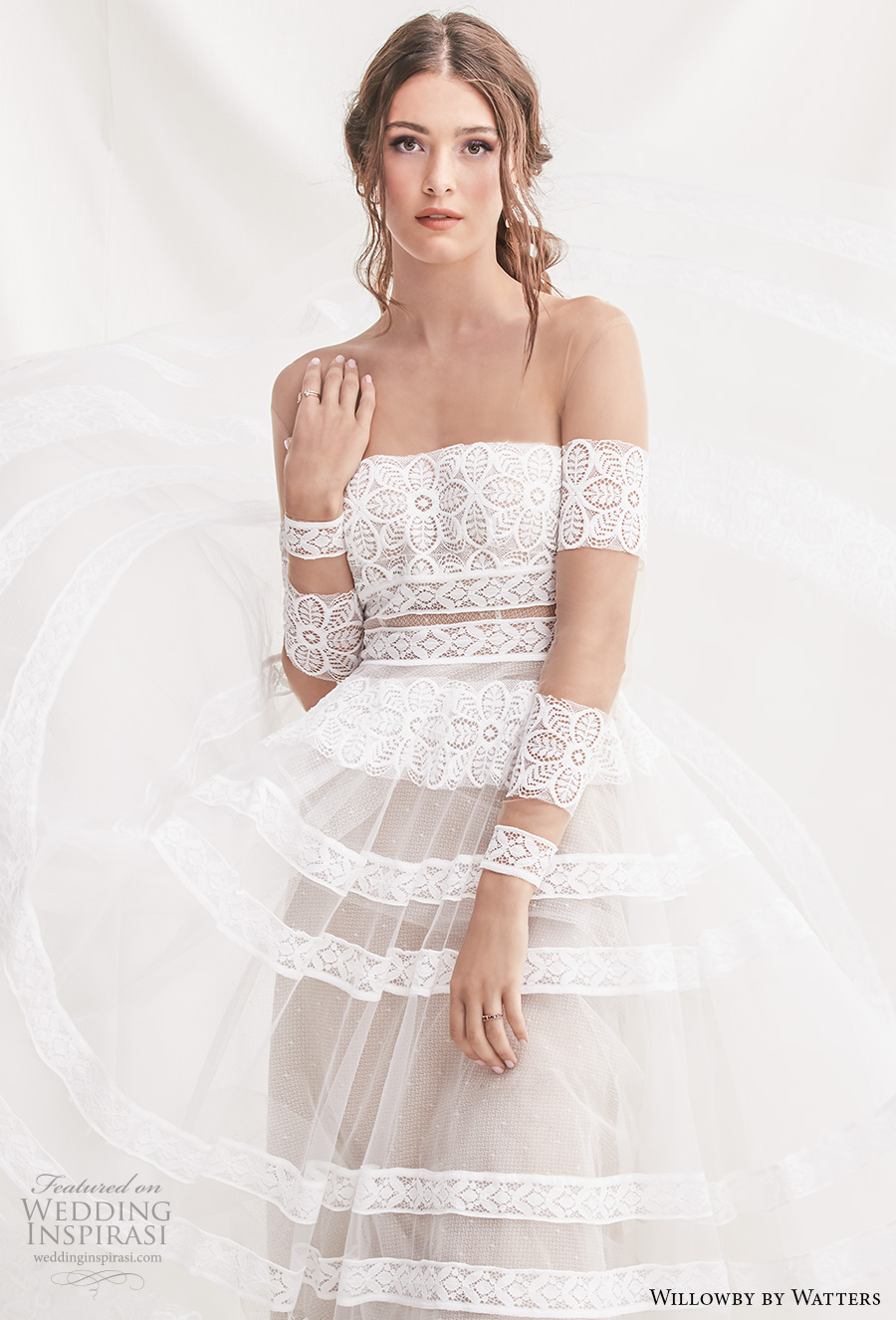 Willowby By Watters Spring 2019 Bridal Long Sleeves Off The Shoulder Straight Across Neckline Full Embellishment