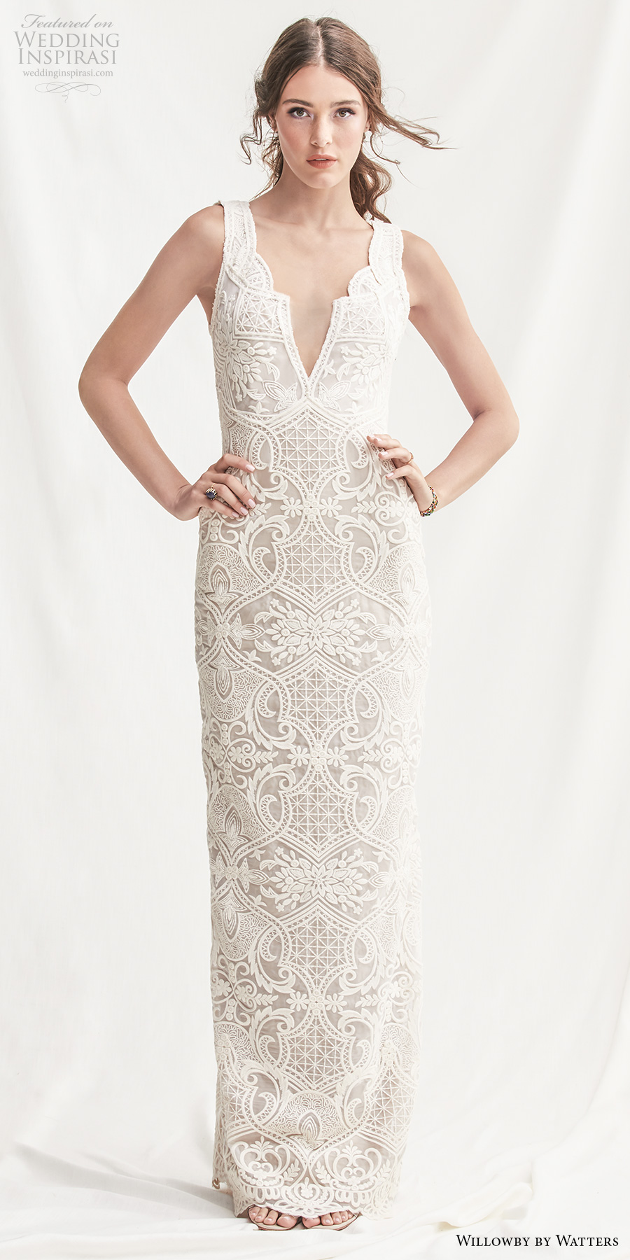 willowby by watters spring 2019 bridal sleeveless deep v neck full embellishment elegant lace sheath wedding dress v back sweep train (8) mv