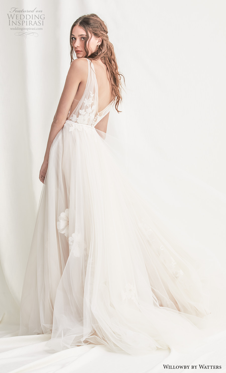 willowby by watters spring 2019 bridal sleeveless deep v neck heavily embellished bodice open side romantic a  line wedding dress backless v back chapel train (3) bv