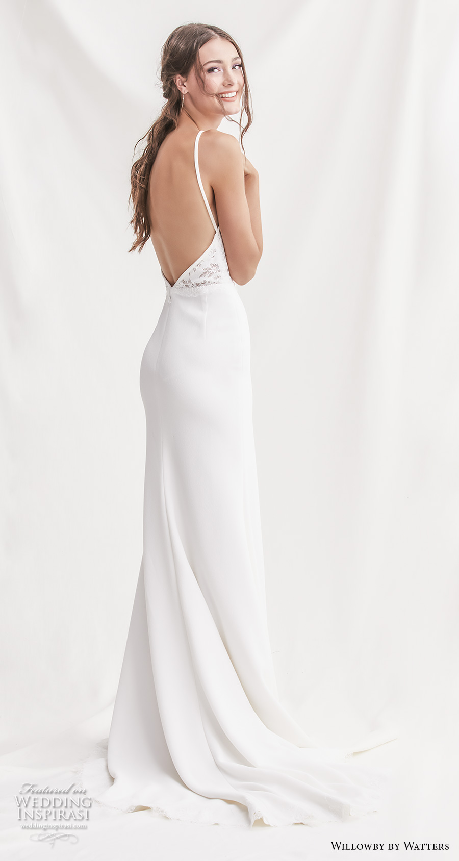 willowby by watters spring 2019 bridal sleeveless halter neck keyhole neckline heavily embellished bodice elegant sheath wedding dress backless short train (14) bv