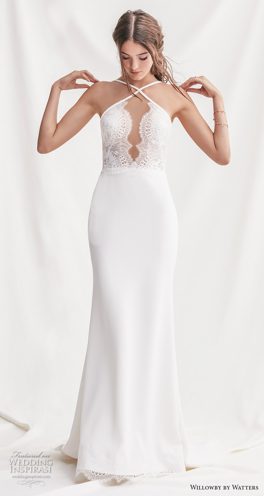 willowby by watters spring 2019 bridal sleeveless halter neck keyhole neckline heavily embellished bodice elegant sheath wedding dress backless short train (14) mv