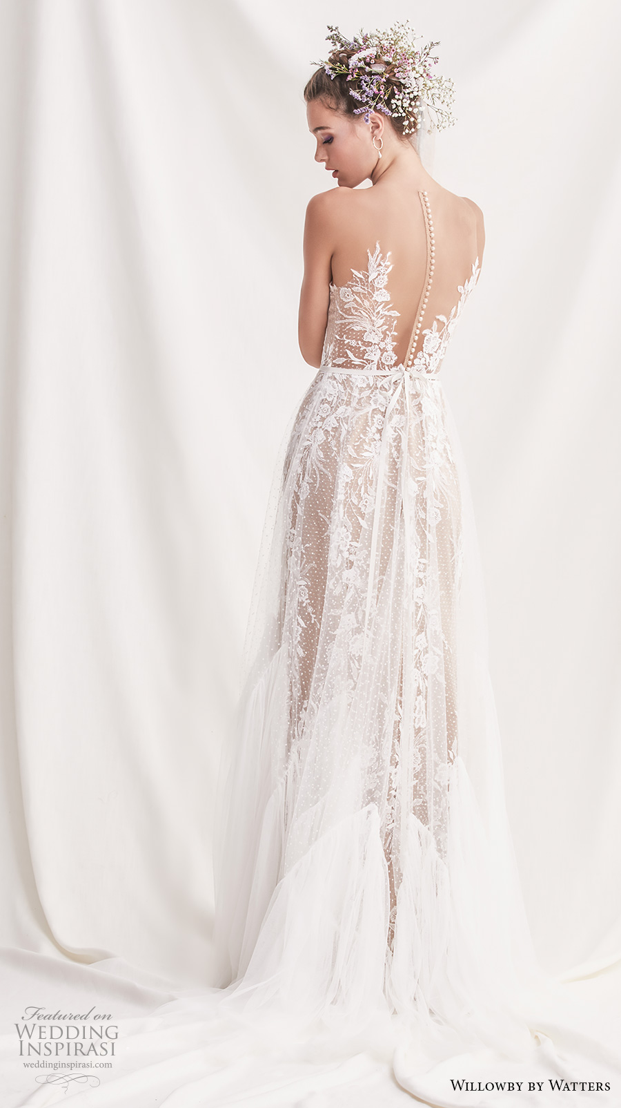 willowby by watters spring 2019 bridal sleeveless sheer strap sweetheart neckline full embellishment romantic a  line wedding dress sheer button back sweep train (4) bv