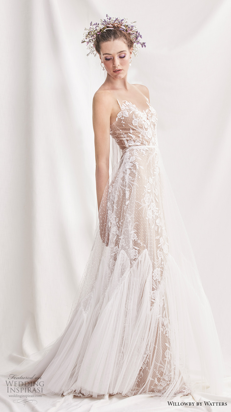 willowby by watters spring 2019 bridal sleeveless sheer strap sweetheart neckline full embellishment romantic a  line wedding dress sheer button back sweep train (4) mv