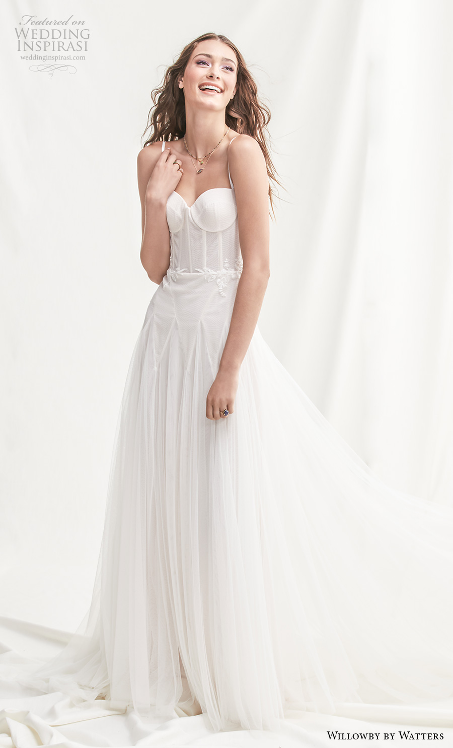 willowby by watters spring 2019 bridal sleeveless spaghetti strap sweetheart neckline simple bustier romantic soft a  line wedding dress backless chapel train (10) mv