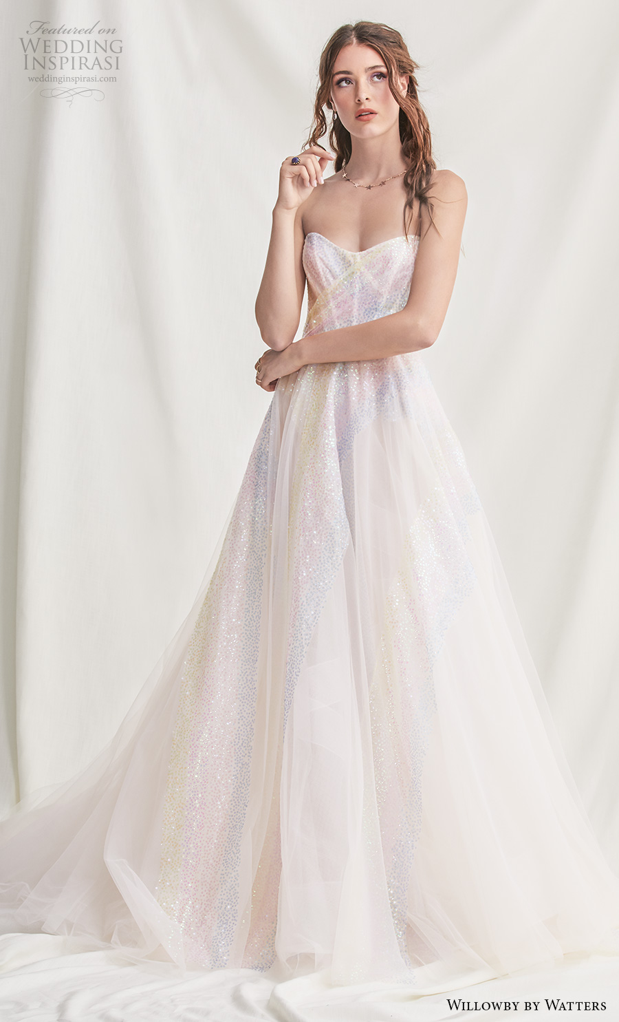 willowby by watters spring 2019 bridal strapless sweetheart neckline light embellishment glitzy romantic multi colored a  line wedding dress backless sweep train (16) mv