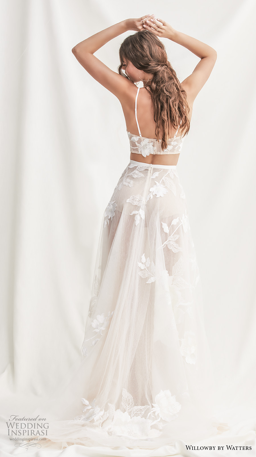 willowby by watters spring 2019 bridal thin strap straight across full embellishment crop top 2 piece romantic soft a  line wedding dress short train (7) bv
