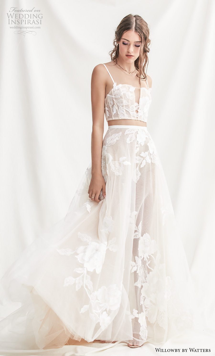 willowby by watters spring 2019 bridal thin strap straight across full embellishment crop top 2 piece romantic soft a  line wedding dress short train (7) mv