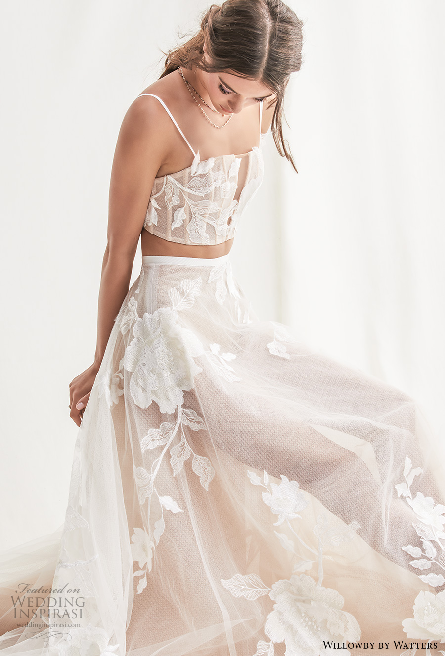 willowby by watters spring 2019 bridal thin strap straight across full embellishment crop top 2 piece romantic soft a  line wedding dress short train (7) zv