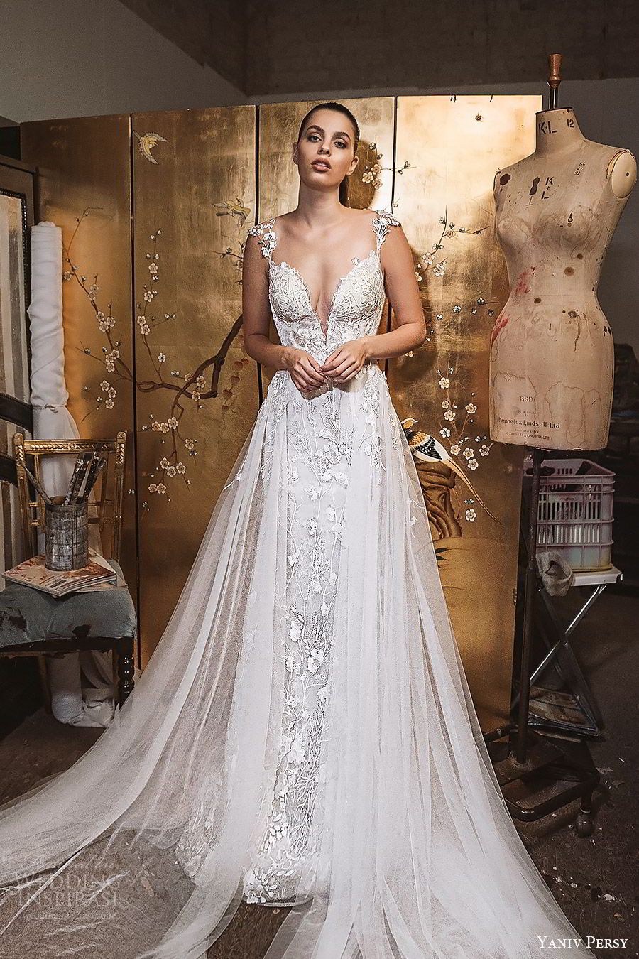 yaniv persy fall 2019 lavish bridal beaded cap sleeves plunging sweetheart allover lace sheat trumpet wedding dress tulle ball gown skirt chapel train romantic sexy (2) mv