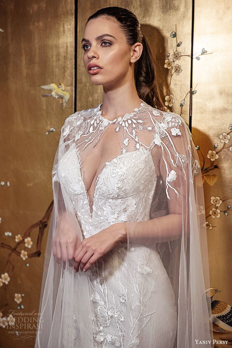 yaniv persy fall 2019 lavish bridal beaded cap sleeves plunging sweetheart allover lace sheat trumpet wedding dress tulle ball gown skirt chapel train romantic sexy sheer cape (2) mv