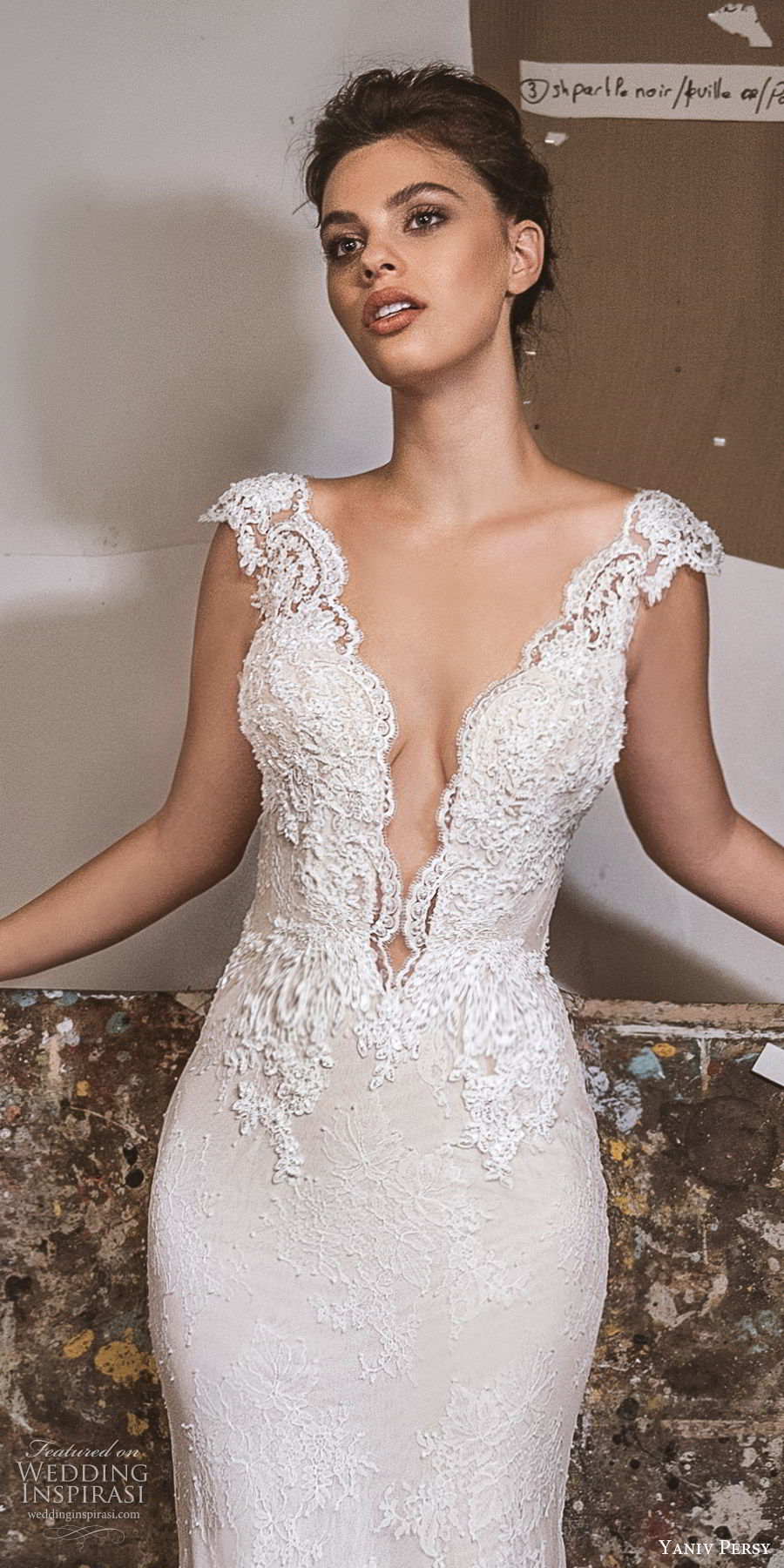 yaniv persy fall 2019 lavish bridal cap sleeves plunging v neckline embellished bodice lace sheath wedding dress chapel train elegant sexy glam (10) zv
