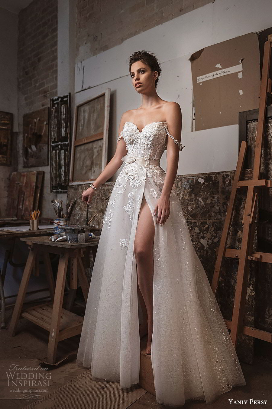 yaniv persy fall 2019 lavish bridal off shoulder sweetheart embellished bodice a line wedding dress high slit skirt romantic sexy glam (1) mv